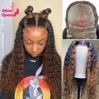 꿀 금발 실크 탑 가발 옴브 보이지 않는 인간의 머리 웨이브 PU 실크베이스 4x4 레이스 정면 가발 여성을위한 프리 플루