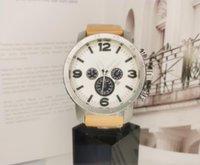 Lusso Tabella Sports Big Dial Orologi di lusso del braccialetto di vigilanza degli uomini con il calendario cinturino in pelle di marca superiore quarzo per gli uomini di alta qualità