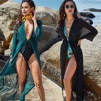 Costumi da bagno da donna Boho Chiffon Beach Cover Up Summer Wear Long Kimono Donne Costume da bagno Plus Size Bikini CoverUp Sarong Plage A406