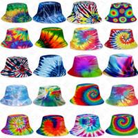 투구 평면 상단의 복장 패션 야외 힙합 피셔 모자 성인 아이 해변 태양 모자 D71502 남여 그라데이션 타이 염료 버킷 모자 여름 모자