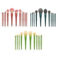 11PCS الأخضر الوردي ماكياج فرش كيت أنثى الخشب الأسود التعامل مع الشعر الاصطناعية المرأة برو أداة مستحضرات التجميل من المكياج فرشاة مجموعة السيدات