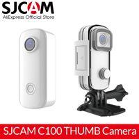 New SJCAM C100 Mini Thumb Camera 1080p 30fps H.265 12MP NTK96672 2.4GHz WiFi 30M impermeável ação câmera Sports DV
