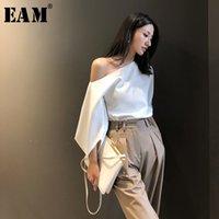 Женские блузки Рубашки [EAM] Женщины белые элегантные блуза кошу воротник три четверти рукав свободная подходит рубашка мода прилив весна лето 2021 1