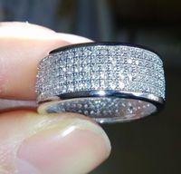 Mens Iced Out Anelli Five Row Diamond Ring Fashion Bling Full Crystal Anello per le donne regalo di nozze regalo anello hip hop gioielli all'ingrosso