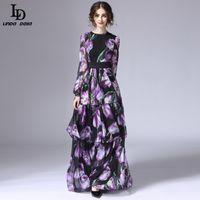LD Linda della Spring New Fashion Runway Maxikleid Frauen Langarm Vintage TULIP TULIP Floral gedruckt langes Kleid