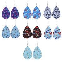Mode Wassertropfen PU-Leder-Ohrringe Printed Ozean Wind Segeln-Muster-Leder-Charme-Anhänger Eardrop-Ohr-Haken-Ohrring für Frauen-Schmucksachen