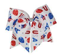 12pcs / lot 4 luglio 7 pollici capelli bandiera americana JOJO SWIA arco Cheer Bow Stars and Stripes chip di fascia elastica ragazza Accessori per capelli