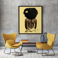 Arte pop atractivo de la mujer africana retrato de la muchacha pintura al óleo cuadros de la pared arte de la lona impresiones del cartel de moda para sala de estar Dormitorio Decoración Cuadros