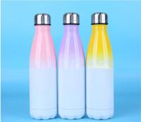 6 Arten Gradient Sublimation Cola Water Bottle Edelstahl Doppelwandbecher beschichtete isolierte Reisenbecher