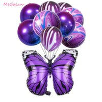 22 Inch 4D Ágata balões borboleta Foil Balloon Baby Shower Gradiente bola roxa Weddding aniversário Jungle Party Decor Globos