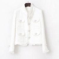 Chaqueta Tweed Pearl Blanco Bolsillo con incrustaciones 2020 Otoño / Invierno Chaqueta para mujer Nuevo Slim Slimming Tweed Bates Abrigo