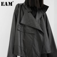 [EAM] Loose Fit Big Size Asymmetrical Pu Leather Jacket New ...