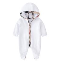 Bebê crianças romper meninos meninos com capuz macacões com capuz jumpsuits garota garota patch treliça luva longa escalar roupas recém-nascido crianças fraldas de algodão p0052