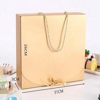 리본 속옷 포장 상자 색 종이 상자 포장 로프 스카프 의류와 31cmx26cmx8cm 대형 골드 선물 상자