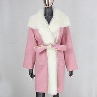 Balsanti di lana da donna CXFS 2021 Casual Casual Oversize Allentato Cashmere Real Fur Coat Giacca invernale Giacca da donna Natural Collare Capispalla Cintura Capispalla