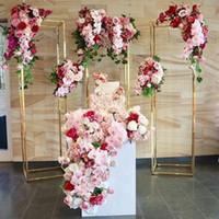 الاصطناعي حفل زفاف محور المعادن مستطيلة طويل القامة الأزهار حامل هندسية حامل إناء خلفية حامل العمود القوس