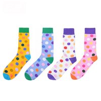 2019 Fashion Colorful Dot Cotton Man Happy Socks Personality Tide Brand Harajuku Casual Funny Socks Women Couple Meias
