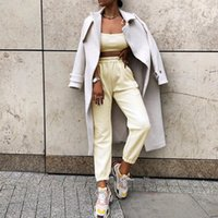 2020 Herbst-Winter-Hosen-Frauen-Knöchel-Länge Wollhose mit hoher Taille Taschen-Hosen Arbeits beiläufiger Normal Wear Bleistift Hose