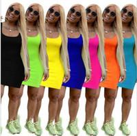 7 Color Mujeres Verano Vestidos Casuales Moda Sin mangas Cuerda Bodycon Columna Natural Color Color Sobre Knee Plus Tamaño Ropa S-2XL