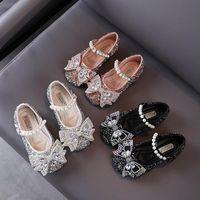 Moda paillettes ragazze scarpe scarpe scarpa bowknot di cristallo del partito scarpa abito scarpe col tacco alto bambino del bambino principessa perla vendita al dettaglio