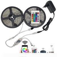 5M 10M 15M WIFI LED Bande lumières de couleur RVB Couleur flexible flexible étanche SMD 5050 RGBW RGBWW LED bande bande de bande + télécommande + adaptateur