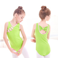 Dzieci Dzieci Dziewczyny Lycra Bawełna Chiński Styl Balet Trykot Bow Back Back Leotards Chiński Knot Przyciski Dziewczyny Ubrania Pink Green