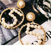 Chic Number 5 Dangle Drop Earrings Large Circle Pearl Earring Gold Tone Ear Studs Women Wedding Party Jewelry Gift