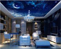 Fonds d'écran Plafond de plafond personnalisé Fond d'écran 3D Zénith Mode Dream Noir Noir Starry Sky Salon Chambre à coucher Mural