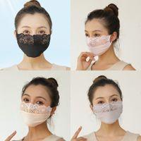 Lace delle donne US ricami floreali protezione solare seta d'imitazione traspirante Bocca muffola Estate Sun Protection Bocca Volto antipolvere Mask FY0062