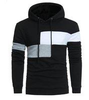 Весной осени тонкие мужские с капюшоном хеджирование большого размера контраста цвет сшивание свитер пальто куртки свитера Верхняя одежда Верхняя одежда куртки