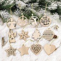 크리스마스 트리 장식 DIY 나무 펜던트 장식 크리스마스 눈송이 스타 교수형 장식품 홈 뉴스 파티 용품 YFA2300