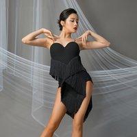 المرحلة ارتداء الرقص اللاتينية المنافسة اللباس المرأة مثير هامش ممارسة الملابس رومبا تانجو سامبا سالسا تشا القاعة الملابس DWY4127