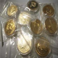 Южная Африка Кругерранд Монета Розничная торговля 2 шт. / Лот Бесплатная Доставка 24K Золотой CLAD Сувенирная монета 40 * 3 мм Металлический сбор