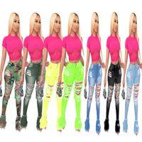 7 colori Donna Denim svasato pantaloni lunghi parte inferiore di campana Jeans sexy Foro strappato Figura intera Leggings aderente Streetwear Abbigliamento DHL