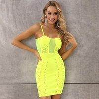 Yaz Moda Seksi Kolsuz Mesh Kuşgözü Neon Sarı Pembe BODYCON Bandaj Elbise Tasarımcı Moda Parti Giydirme Vestido
