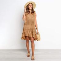 Vestido de verano de las mujeres Polka Dot gasa sin mangas de la playa Mini casual Amarillo Sundress 2020 Moda Moda más Vestido para las mujeres