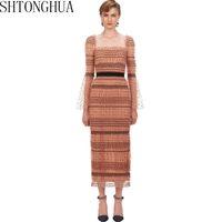 Повседневные платья автопортрет сексуальное сетчатое платье женщины 2021 весенний летний квадратный воротник в горошек Maxi длинный Bodycon PruSway Designer