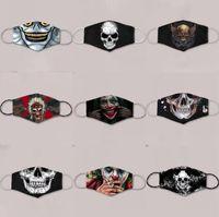 DHL GEMİ Moda Kafatası Tasarımcı Maskeler Yüz Ağız 3D Anti Toz Ağız Kapak FY0065 Cadılar Bayramı Partisi Cosplay Pamuk Kumaş Maskeler yazdır Maske