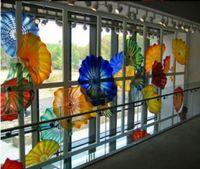 100% ручная работа выдувного муранского стекла висячие Планшеты Wall Art Чихули Стиль боросиликатного стекла Арт Рука выдувное Blue Glass цветок стены искусства Тарелки