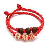 Tejido de tres Bead amuleto BraceletsBangles para las mujeres de los hombres hechos a mano de la cuerda budista afortunada de la cuerda roja de los pares Charm Pulsera de la amistad regalo de la joyería
