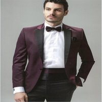 New style Customized made Groom Tuxedos Groomsmen Burgundy Men Wedding Suits 2pcs jacket+Pants Party Prom Occasion