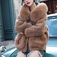 2020 New Women's Winter Sheep Shearling Coat Thickened Imitation Fur Collar Fur Coat Female Grain Fleece Hooded Loose Short