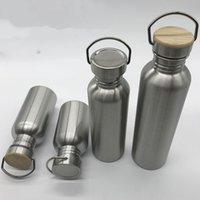 Portátil botella de acero inoxidable de agua de bambú Tapa Deportes matraces a prueba de fugas de viajes de ciclismo de 1000 ml / 750 ml botellas de camping libre de BPA