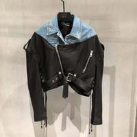 새로운 브랜드 정품 가죽 자켓 벨트 진짜 양가죽 코트 여성에게 데님 옷을 접합 2,020 짧은 코트 봄 여성