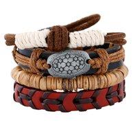 2020 venta caliente pulsera de auténtico cuero de los hombres de bricolaje de cáscara de coco aleación de perlas de cuero del botón traje de combinación pulsera 4styles / 1set