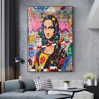 Modern Graffiti Sanat Mona Lisa Komik Tuval Posterler Boyama ve Salon Ev Dekorasyonu için Baskılar Wall Art (No Frame)