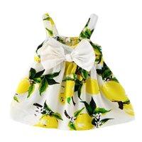 Sundress Neugeborenes Baby-Kleid-Kleinkind-Baby-Zitrone Blumen legere Kleidung Partei Ärmel nette Kleidung Ferien Kleidung
