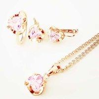 la moda de la joyería de rosa accesorios de la boda romántica señora rosada del corazón de oro en forma de aretes de circonio cúbico y joyería