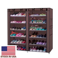 Easy to Assemble Coffee Color Dirty Resistant Storage 6-Row 2-Line 12 Lattices Non-woven Fabric Shoe Rack