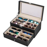 Gafas de cuero Caja de almacenamiento Multi Frame Capacidad grande Capacidad doble Capacidad Gafas de sol Sun Eye 12 Pantalla